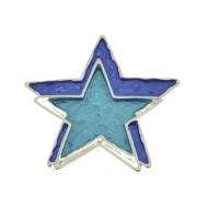 Blue and Turquoise Star Brooch