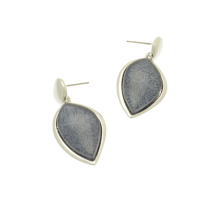 Indigo Grey Teardrop Earrings