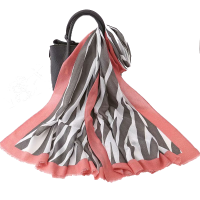 Grey and Pink Zebra Scarf
