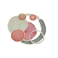 Coral and Grey Brooch