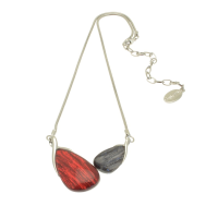 Dark Red and Grey Metallic Resin Necklace