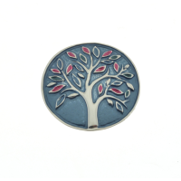 Blue and Pink Tree Brooch