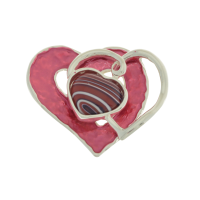 Dark Pink Resin Heart Brooch
