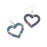 Blue Glitter Heart Earrings