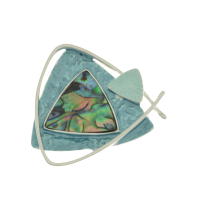 Teal and Abalone Brooch