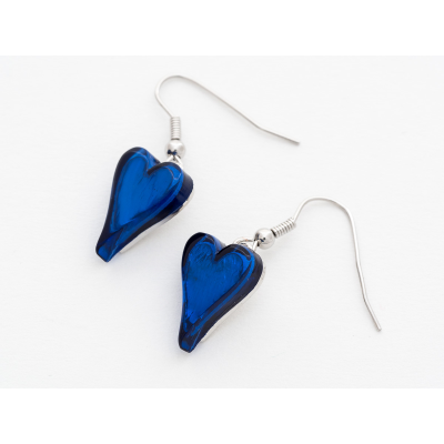 FE211 Blue Heart Earrings