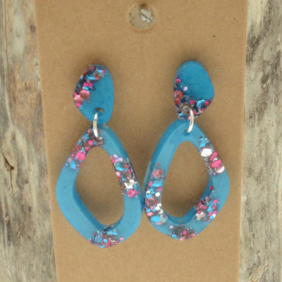 Turquoise Glitter Earrings