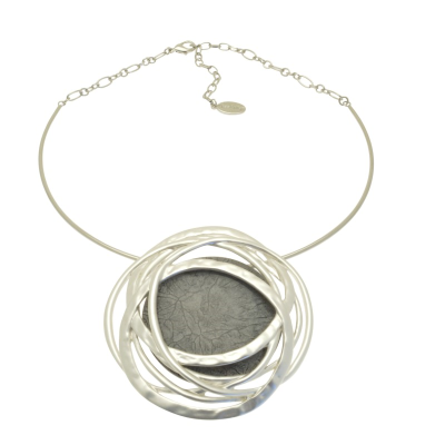 Grey and Silver Statement Necklace