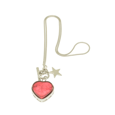 Fuchsia Pink Heart and Star Charm Necklace