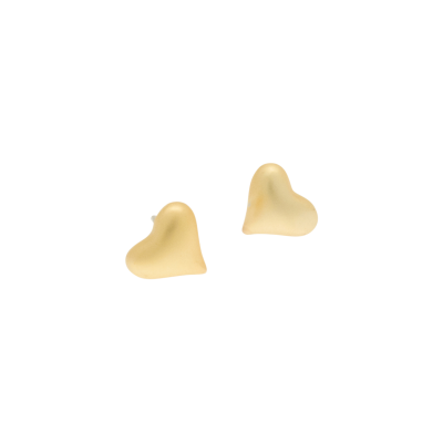 FE38 Matt Gold Heart Stud Earrings