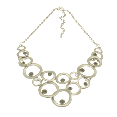 CN74 Silver Crystal Bib Necklace