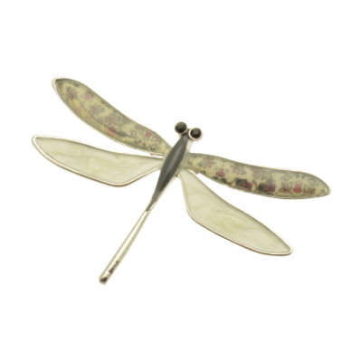 FBR233 Cream Dragonfly Brooch