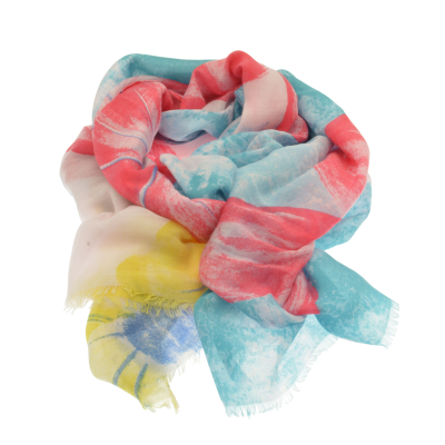 Pink and Teal Tropical Flower Scarf