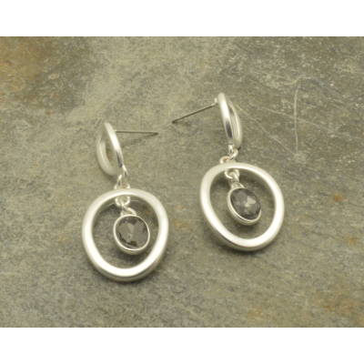 CE90 Silver Crystal Earrings