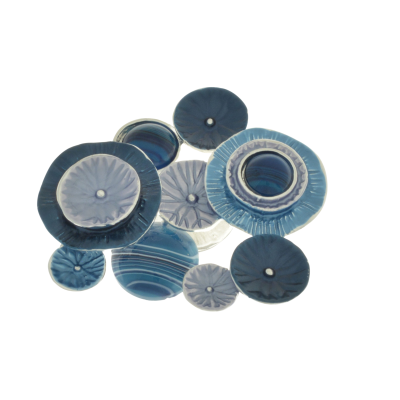 Blue Resin and Agate Brooch