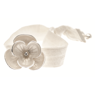 Exquisite Ivory Enamelled Flower Bracelet