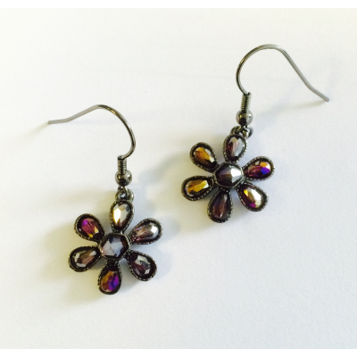 SPE43 Purple Flower Earrings