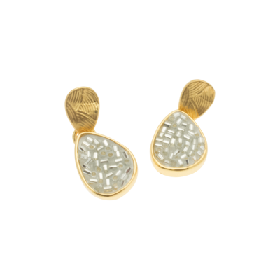 FE181 Gold & Silver Teardrop Earrings