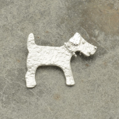 Silver Dog Brooch