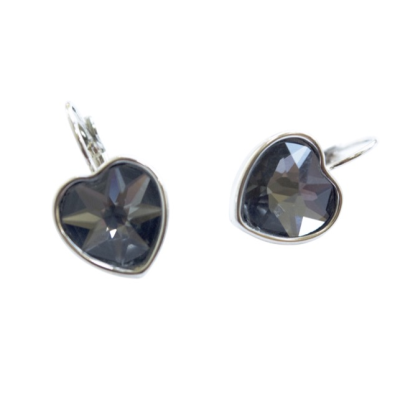 CE54 Grey Crystal Heart Earrings