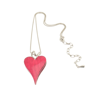 Fuchsia Pink Heart Necklace
