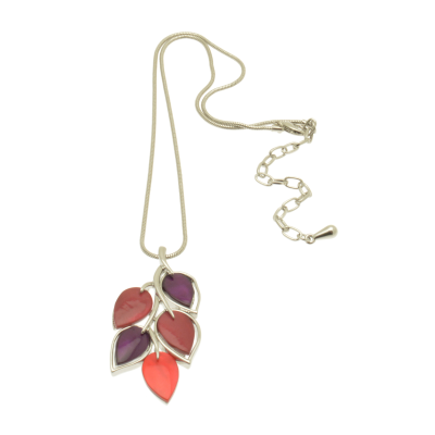 Purple and Red Leaf Necklace
