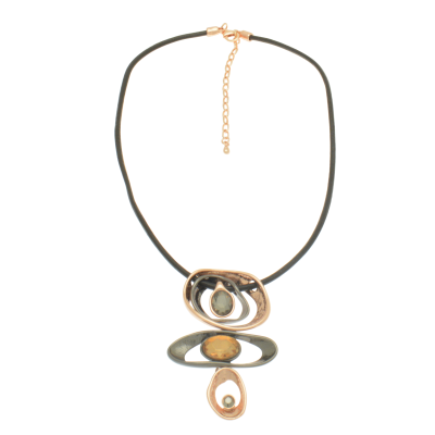 CN81 Rose Gold & Gunmetal Abstract Necklace