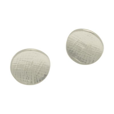 FE146 Silver Button Earrings