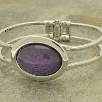 Purple Marble Resin Bracelet