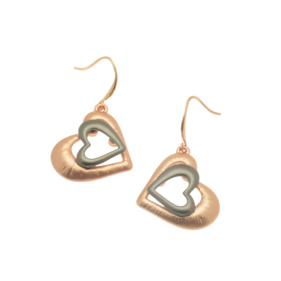 CE76 Rose Gold & Gunmetal Heart Earrings