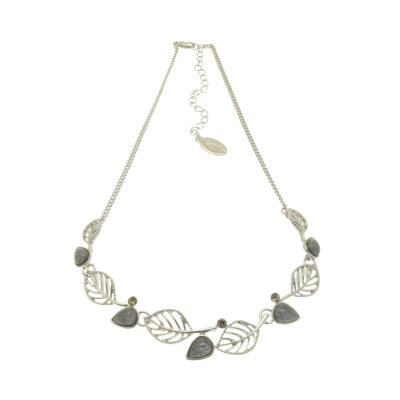 Grey and Silver Crystal Leaf Necklace