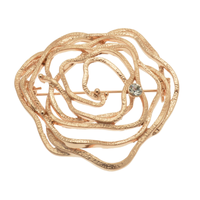 FBR258 Rose Gold Rose Brooch