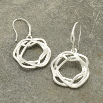 FE376 Woven Silver Earrings
