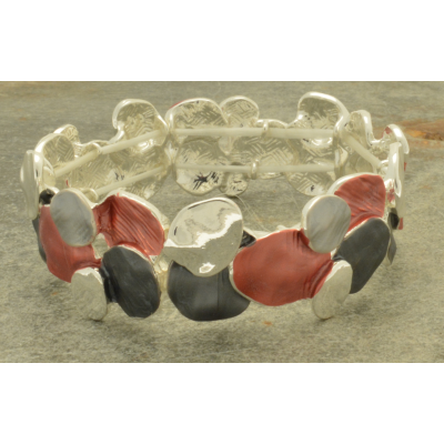 FB225 Red Layered Disc Bracelet