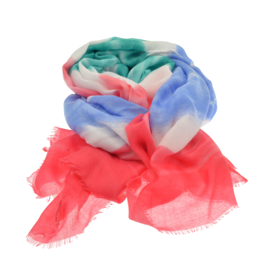 Blue, Pink and Green Striped Scarf