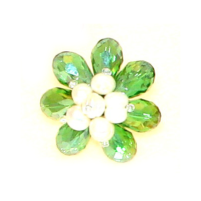 Green Crystal & Pearl Floral Ring