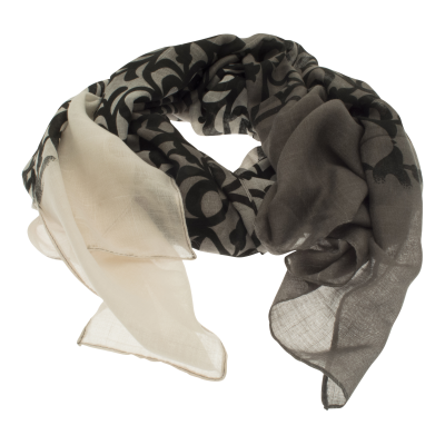 SC133 Grey Secret Garden Scarf