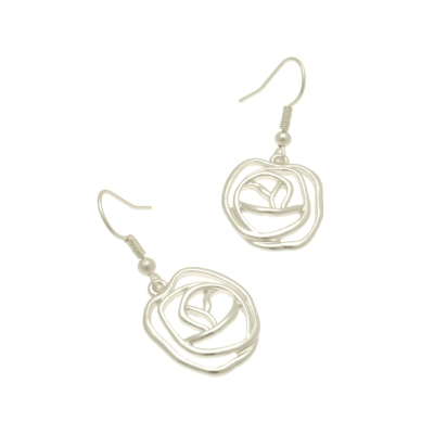 FE419 Silver Rose Earrings