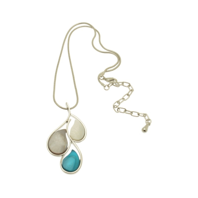 FN342 Aqua Droplet Necklace