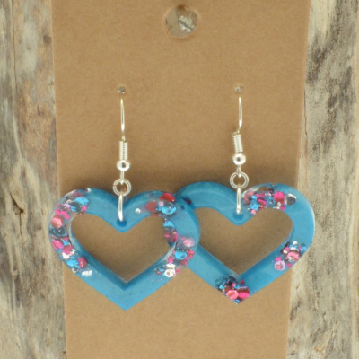Turquoise Glitter Heart Earrings