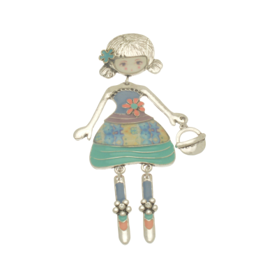 FBR272 Blue Girl Brooch