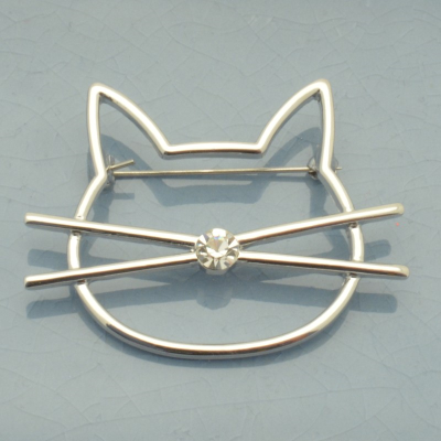 Crystal Cat Brooch