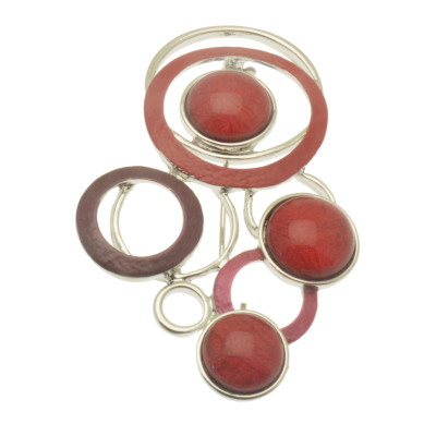 FBR248 Red Multidisc Brooch