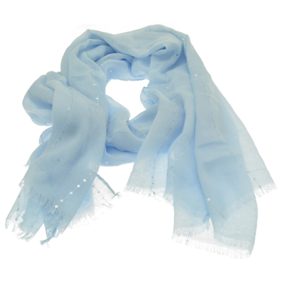 SC154 Sky Blue Sequin Scarf