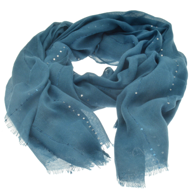 SC154 Teal Sequin Scarf