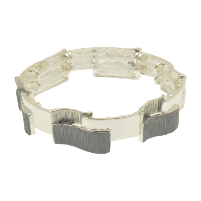 Grey and Silver Overlay Bracelet