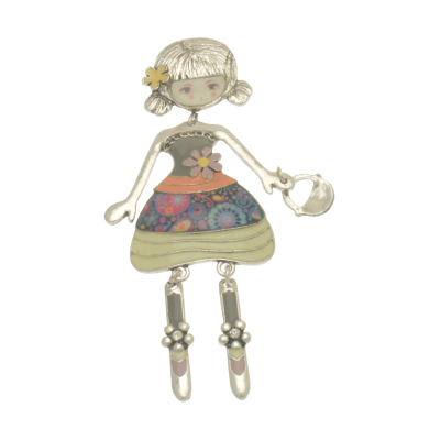 FBR272 Grey Girl Brooch
