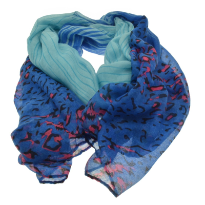SC169 Blue Animal Scarf