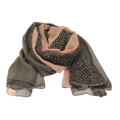 Pink and Grey Parquet Scarf