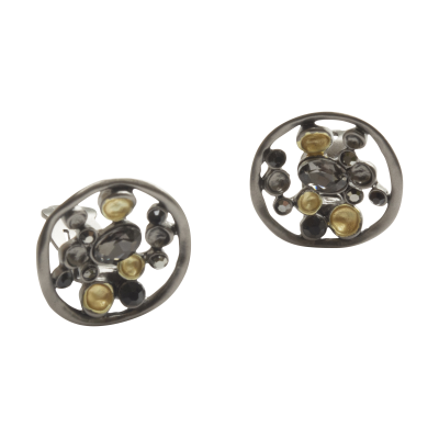 CE64 Gold & Grey Disc Earrings
